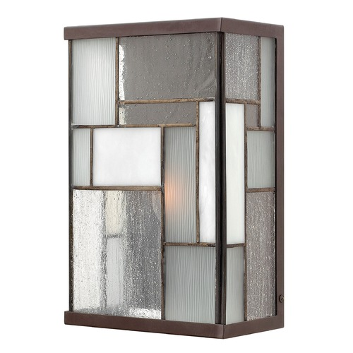 Hinkley Lighting Outdoor Wall Light with Art Glass in Buckeye Bronze Finish 2150KZ