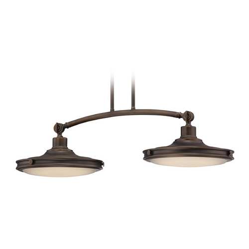 Nuvo Lighting LED Island Light with White Glass in Antique Brass Finish 62/163