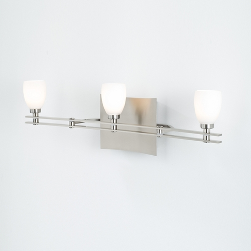 Holtkoetter Lighting Holtkoetter Modern Bathroom Light with White Glass in Satin Nickel Finish 5583 SN G5000