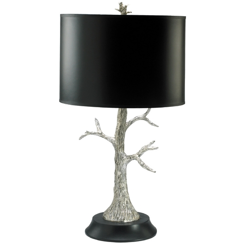 Cyan Design Cyan Design Silver Tree Silver Leaf & Black Table Lamp with Drum Shade 02097
