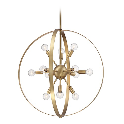 Savoy House Mid-Century Modern Pendant Light Brass Marly by Savoy House 7-6098-12-322