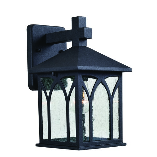 Kenroy Home Lighting Seeded Glass Outdoor Wall Light Black Kenroy Home Lighting 93276BL