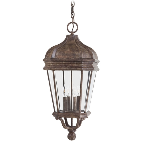 Minka Lavery Outdoor Hanging Light with Clear Glass in Vintage Rust Finish 8694-61