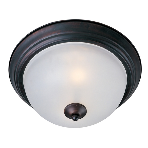 Maxim Lighting Flushmount Light with White Glass in Oil Rubbed Bronze Finish 5840FTOI