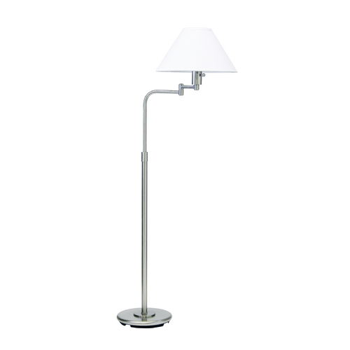 House of Troy Lighting Swing Arm Lamp with White Shade in Satin Nickel Finish PH101-52