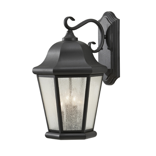 Home Solutions by Feiss Lighting Outdoor Wall Light with Clear Glass in Black Finish OL5904BK