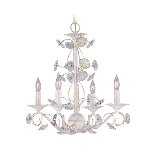Crystorama Lighting Crystal Mini-Chandelier in Antique White Finish 5414-AW
