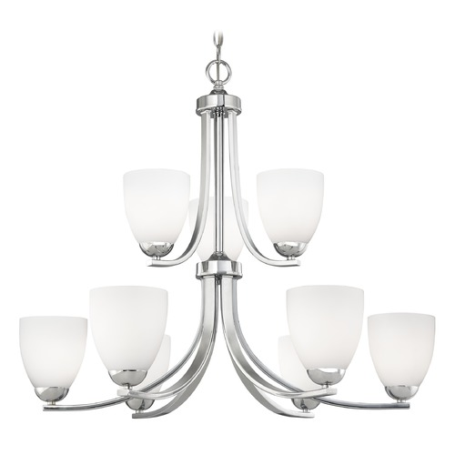 Design Classics Lighting Chrome Two Tier Chandelier with Satin White Cylinder Glass 586-26 GL1028MB