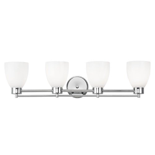 Design Classics Lighting Modern Bathroom Light with White Glass - Four Lights 704-26 GL1024MB