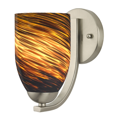 Design Classics Lighting Sconce with Brown Art Glass in Satin Nickel Finish 585-09 GL1023D