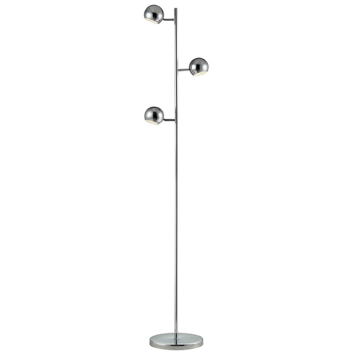 LEDs by ZEPPELIN Trident 3-Light Chrome LED Floor Lamp 133 CH