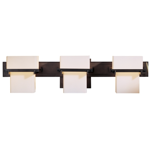 Hubbardton Forge Lighting Bathroom Light with White Glass in Bronze Finish 207833-05-G106