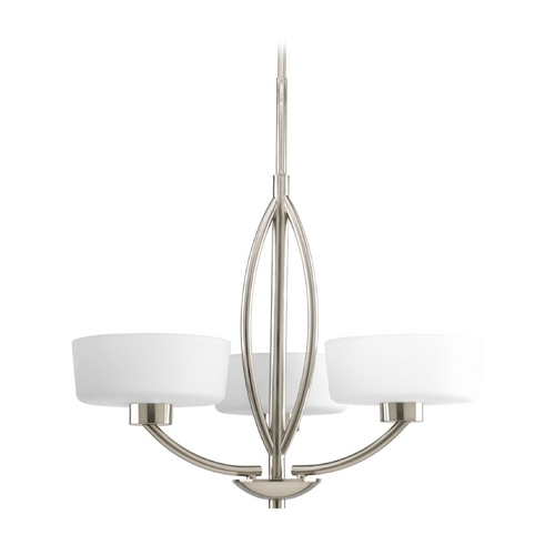 Progress Lighting Progress Modern Chandelier with White Glass in Brushed Nickel Finish P4537-09