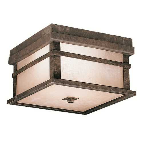 Kichler Lighting Kichler Close To Ceiling Light with Brown Glass in Aged Bronze Finish 9830AGZ