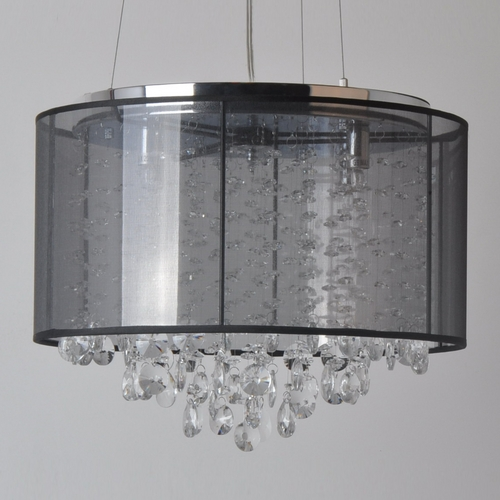 Avenue Lighting Avenue Lighting Riverside Drive Stainless Pendant Light with Drum Shade HF1504-BLK