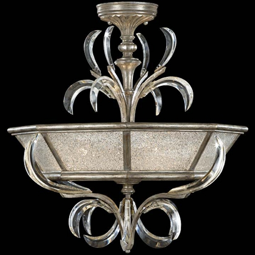 Fine Art Lamps Fine Art Lamps Beveled Arcs Silver Leaf Semi-Flushmount Light 704340ST