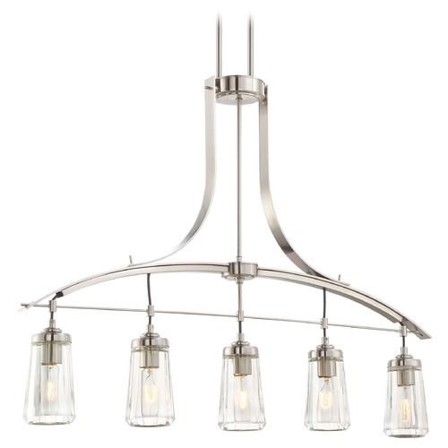 Minka Lavery Minka Poleis Brushed Nickel Island Light with Fluted Shade 3306-84