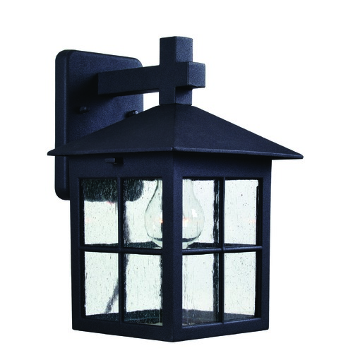 Kenroy Home Lighting Seeded Glass Outdoor Wall Light Black Kenroy Home Lighting 93277BL