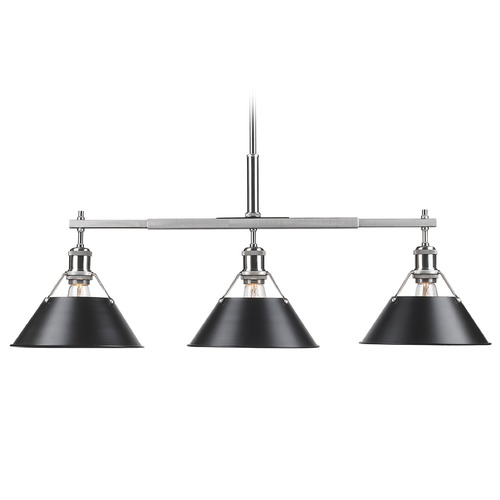 Golden Lighting Golden Lighting Orwell Pw Pewter Billiard Light with Conical Shade 3306-LP PW-BLK