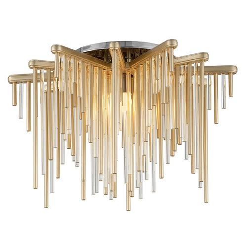 Corbett Lighting Modern Art Deco LED Semi-Flushmount Light Gold Leaf / Stainless Theory by Corbett Lighting 238-31