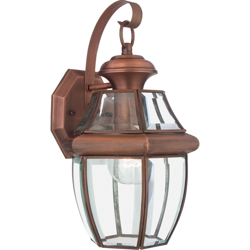 Quoizel Lighting Outdoor Wall Light with Clear Glass in Aged Copper Finish NY8316AC