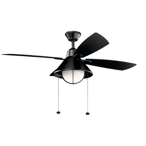 Kichler Lighting Kichler Lighting Seaside Satin Black LED Ceiling Fan with Light 310181SBK