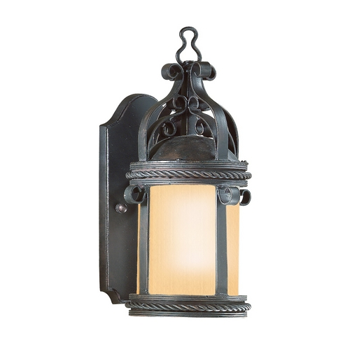 Troy Lighting Outdoor Wall Light with Amber Glass in Old Bronze Finish BF9120OBZ