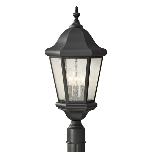 Feiss Lighting Post Light with Clear Glass in Black Finish OL5907BK
