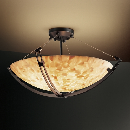 Justice Design Group Justice Design Group Alabaster Rocks! Collection Semi-Flushmount Light ALR-9711-35-DBRZ