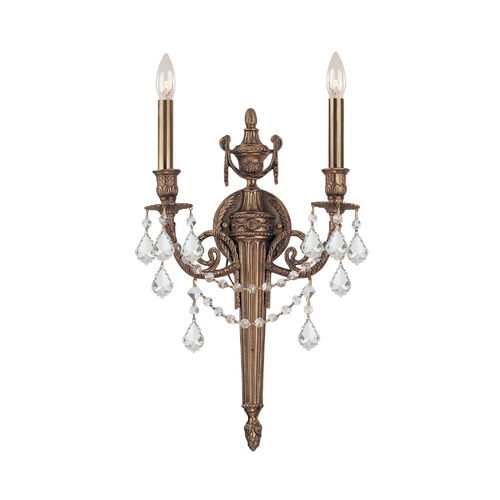 Crystorama Lighting Crystal Sconce Wall Light in Matte Brass Finish 752-MB-CL-SAQ