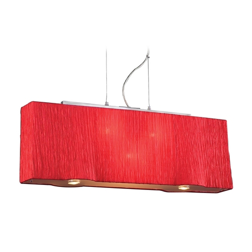 PLC Lighting Modern Pendant Light with Red Shades in Red Finish 73008  RED