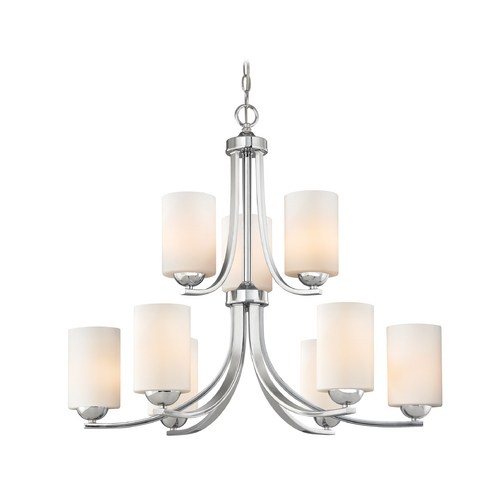 Design Classics Lighting 2-Tier 9-Light Chandelier with Opal White Cylinder Glass in Chrome 586-26 GL1024C