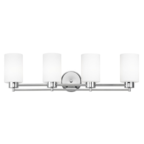 Design Classics Lighting Modern Bathroom Light with White Glass - Four Lights 704-26 GL1028C