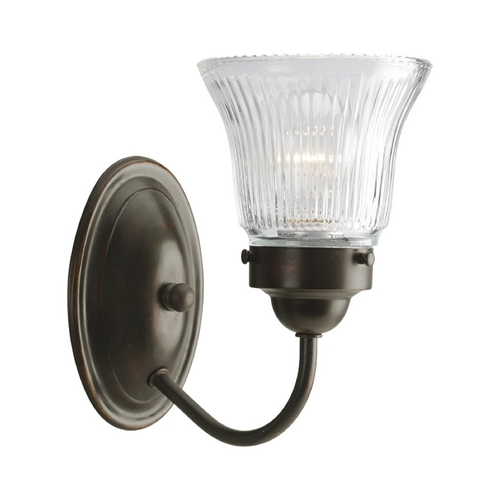 Progress Lighting Progress Sconce Wall Light with Clear Glass in Antique Bronze Finish P3287-20