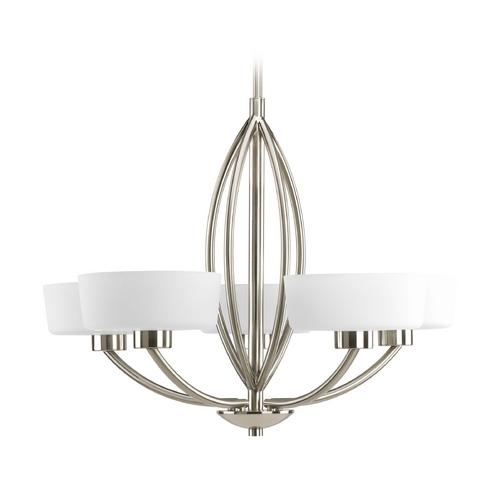 Progress Lighting Progress Modern Chandelier with White Glass in Brushed Nickel Finish P4539-09