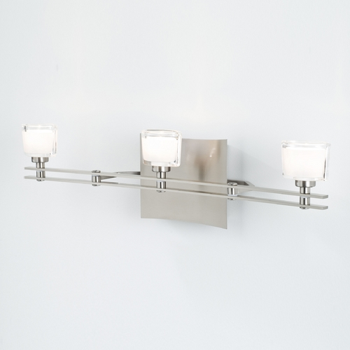 Holtkoetter Lighting Holtkoetter Modern Bathroom Light with White Glass in Satin Nickel Finish 5583 SN G5010
