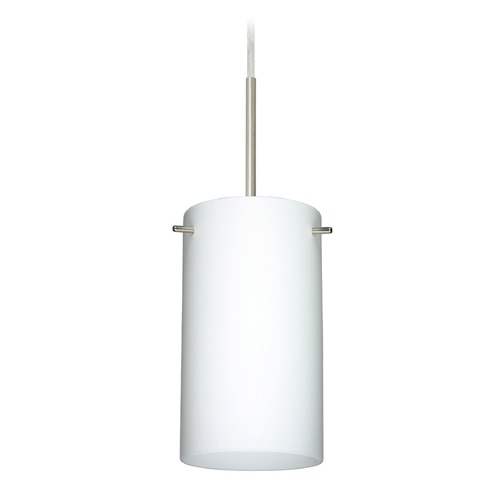 Besa Lighting Besa Lighting Stilo Satin Nickel LED Mini-Pendant Light with Cylindrical Shade 1BT-440407-LED-SN