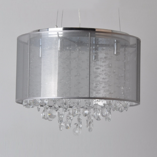Avenue Lighting Avenue Lighting Riverside Drive Stainless Pendant Light with Drum Shade HF1504-SLV