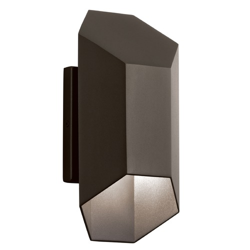 Kichler Lighting Kichler Lighting Estella Textured Architectural Bronze LED Outdoor Wall Light 49607AZTLED