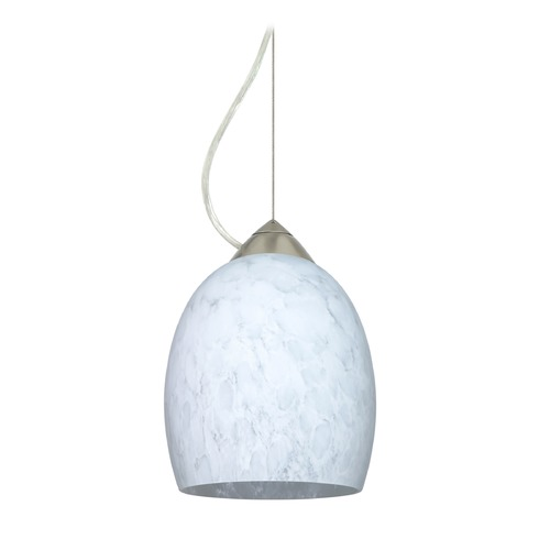 Besa Lighting Besa Lighting Lucia Satin Nickel LED Mini-Pendant Light with Bell Shade 1KX-169719-LED-SN