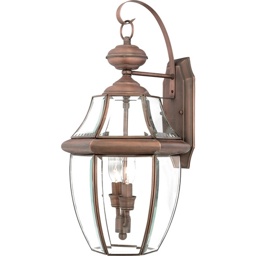 Quoizel Lighting Outdoor Wall Light with Clear Glass in Aged Copper Finish NY8317AC
