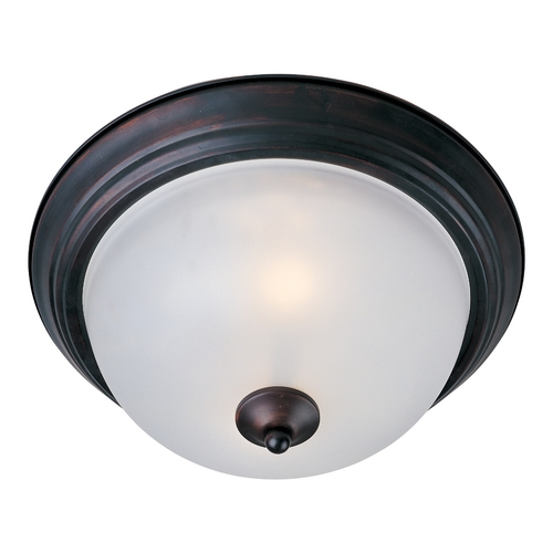 Maxim Lighting Flushmount Light with White Glass in Oil Rubbed Bronze Finish 5842FTOI