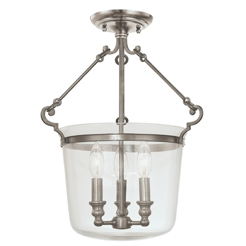 Hudson Valley Lighting Semi-Flushmount Light with Clear Glass in Historic Nickel Finish 130-HN