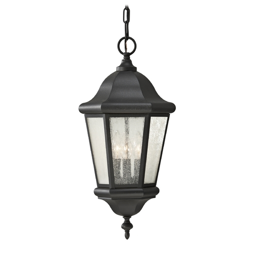 Feiss Lighting Outdoor Hanging Light with Clear Glass in Black Finish OL5911BK