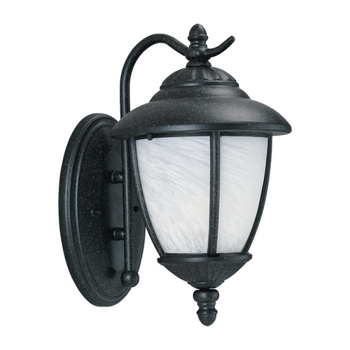 Sea Gull Lighting Outdoor Wall Light with White Glass in Forged Iron Finish 84049-185