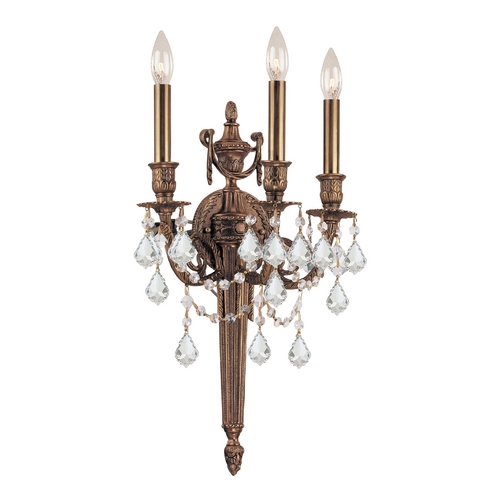 Crystorama Lighting Crystal Sconce Wall Light in Matte Brass Finish 753-MB-CL-MWP