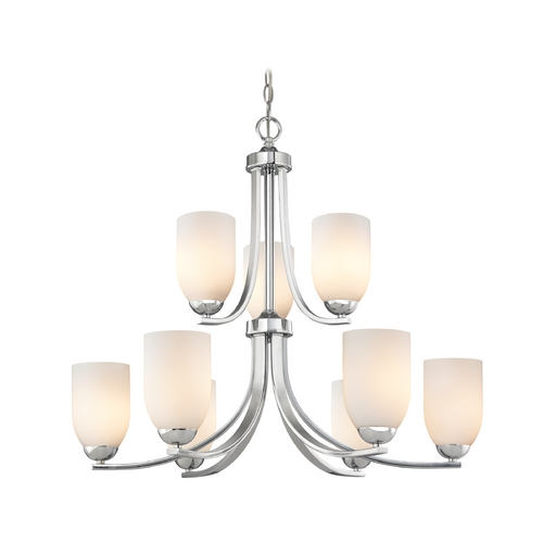 Design Classics Lighting Contemporary Chrome Chandelier with Opal White Glass and Two Tiers 586-26 GL1024D