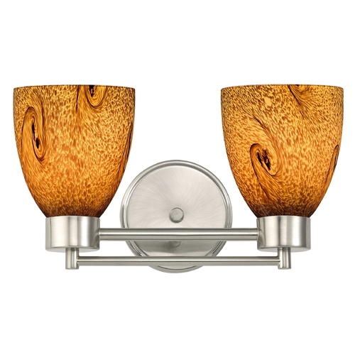 Design Classics Lighting Modern Bathroom Light with Brown Art Glass in Satin Nickel Finish 702-09 GL1001MB