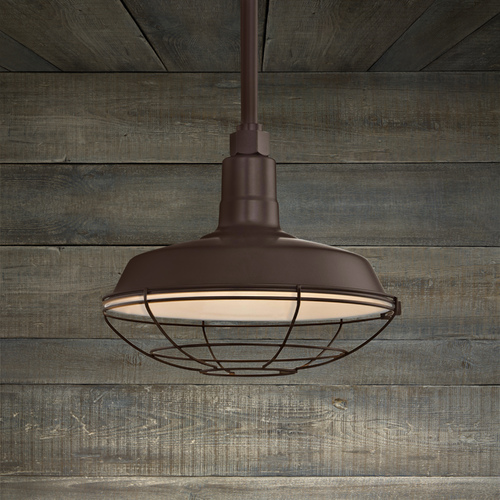 Recesso Lighting by Dolan Designs Bronze Pendant Barn Light with 12-Inch Caged Shade BL-STM-BZ/BL-SH12-BZ/BL-CG12-BZ