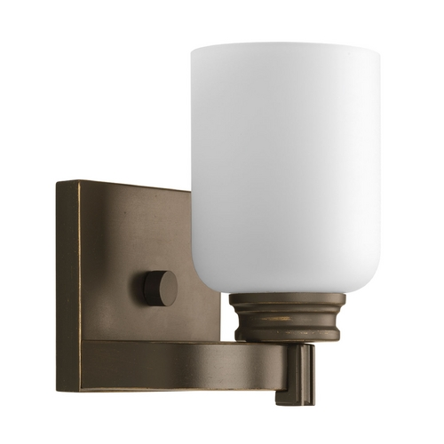 Progress Lighting Progress Sconce Wall Light with White Glass in Antique Bronze Finish P3030-20